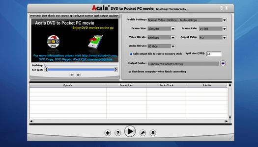 Acala DVD to Pocket PC Movie Screenshot 1