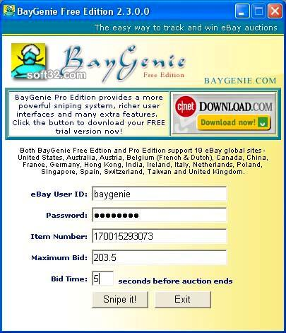 BayGenie eBay Auction Sniper Free Screenshot 3