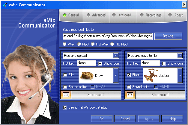 eMic Communicator Screenshot