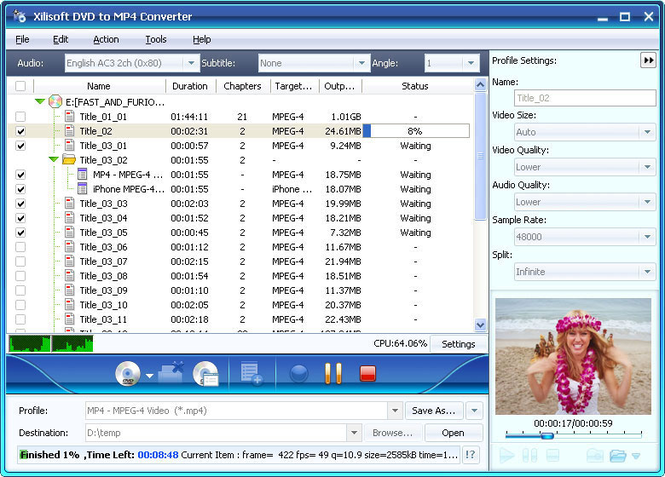 Xilisoft DVD to MP4 Suite Screenshot