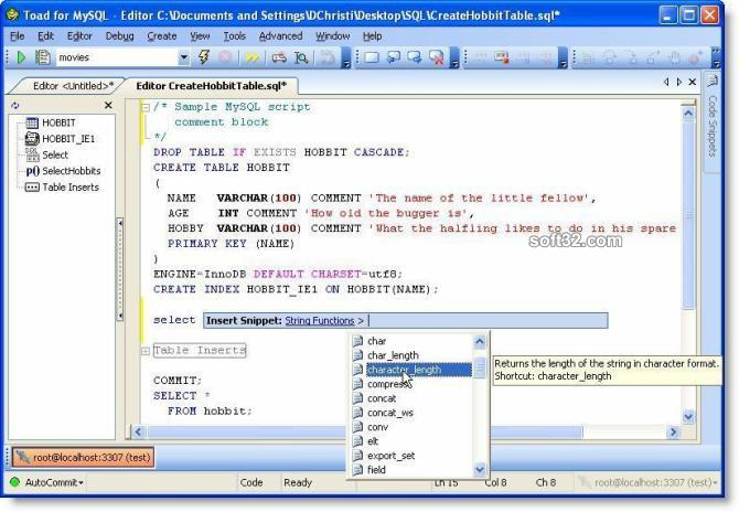 Toad for MySQL Screenshot 2