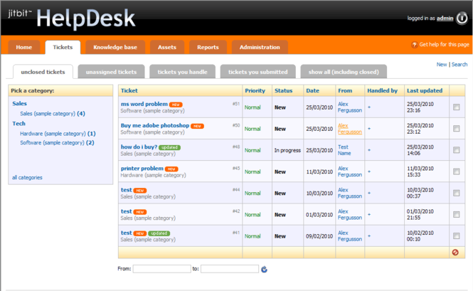 Jitbit HelpDesk Screenshot