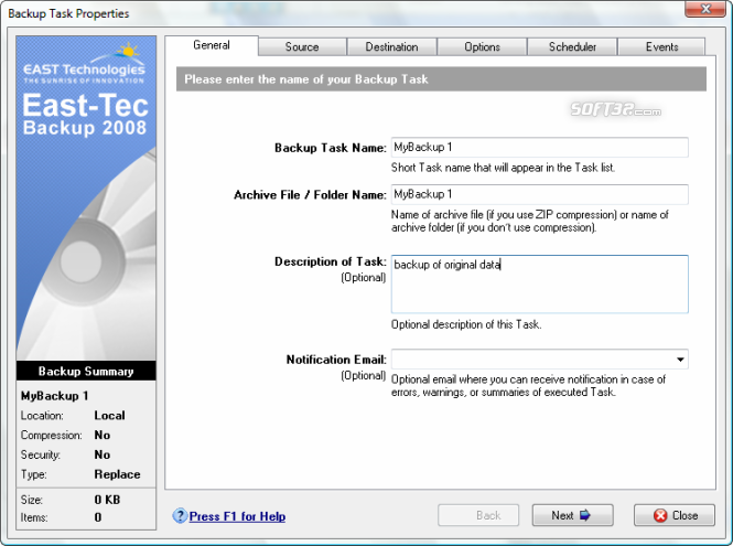 East-Tec Backup 2009 Screenshot 3