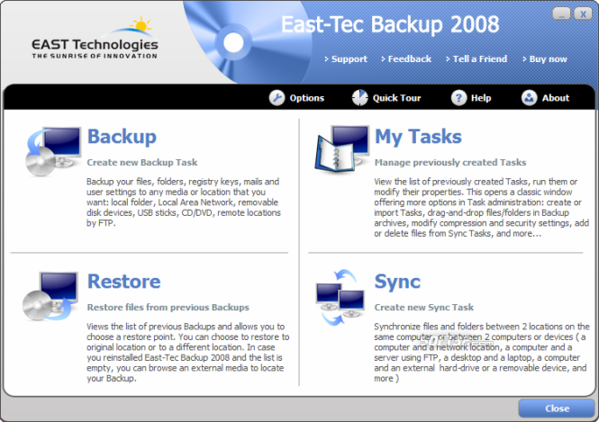 East-Tec Backup 2009 Screenshot 2