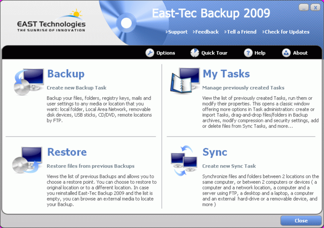 East-Tec Backup 2009 Screenshot 1
