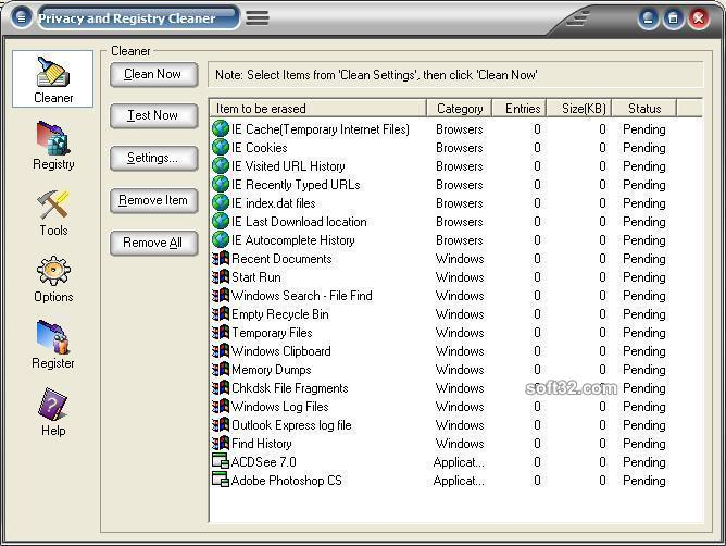 Privacy and Registry Cleaner Screenshot 3