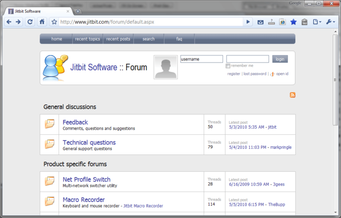 Jitbit AspNetForum Screenshot