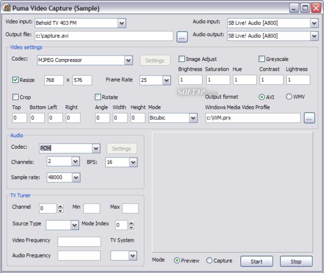 Puma Video Capture Delphi Control Screenshot 1