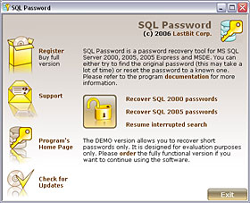LastBit SQL Password Recovery Screenshot