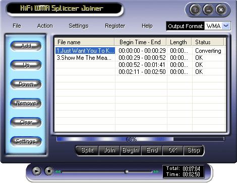 HiFi WMA Splitter Joiner Screenshot 1