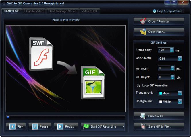 SWF-AVI-GIF Converter Screenshot