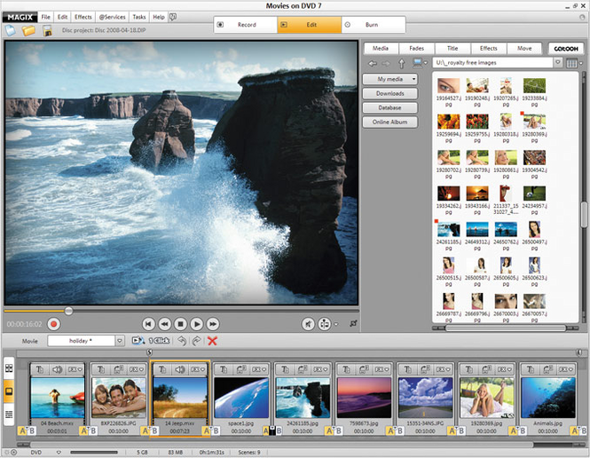 MAGIX Movies on DVD Screenshot