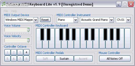 Software MIDI Keyboard Lite Screenshot