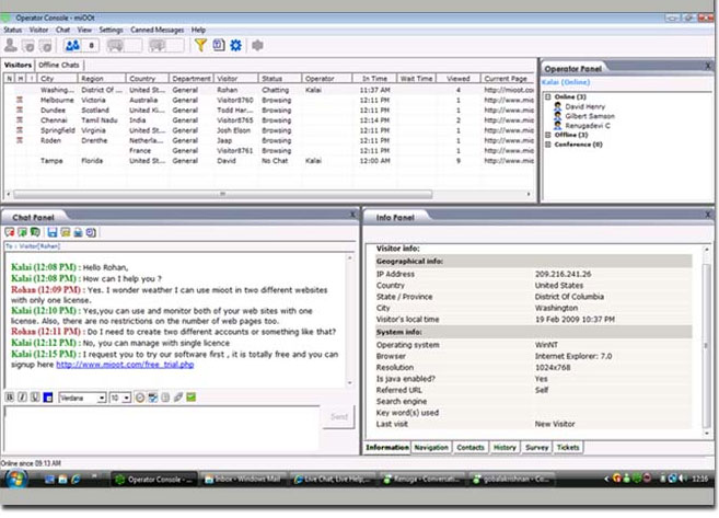 Live chat software Screenshot