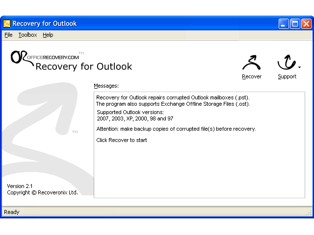 Recovery for Outlook Screenshot