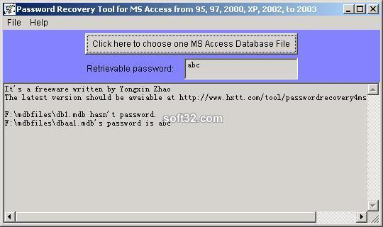 Password Recovery for MS Access Screenshot 3