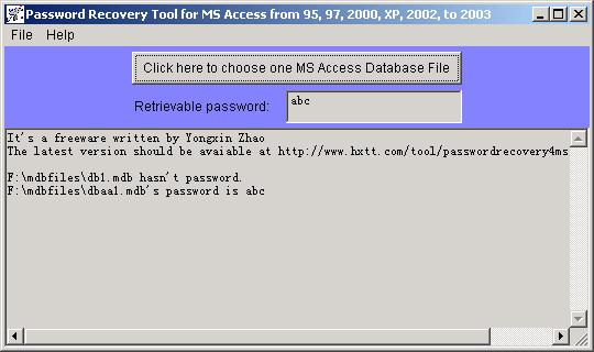 Password Recovery for MS Access Screenshot 1