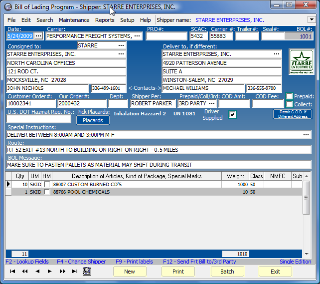 Star Bill of Lading Program Screenshot 1