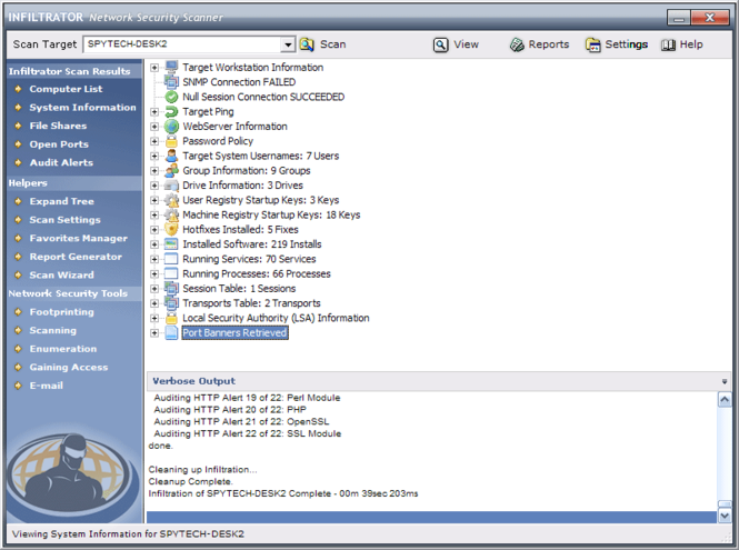 Infiltrator Network Security Scanner Screenshot