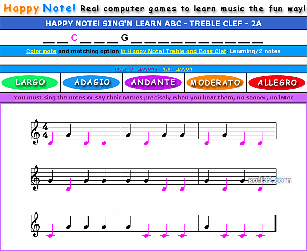 Happy Note! Sing ''n Learn Treble Clef ABC Screenshot