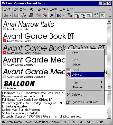Font Xplorer Screenshot