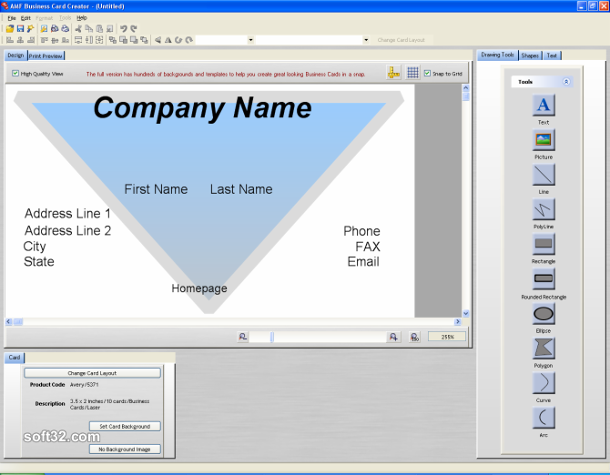 Business Card Creator for Word Screenshot