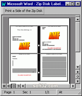 ZIP Disk Jewel Case and Label Creator for Word Screenshot