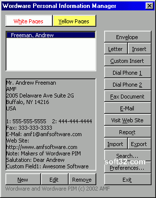 Wordware Personal Information Manager for Word Screenshot
