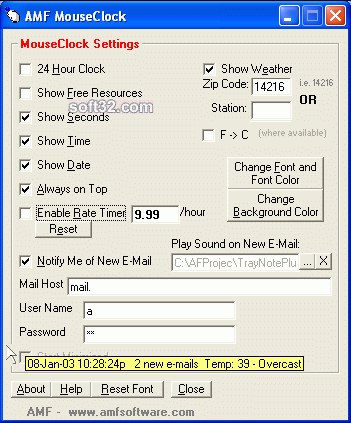 MouseClock Screenshot