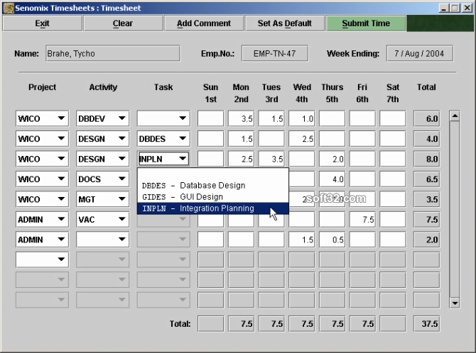 Senomix Timesheets Screenshot 3