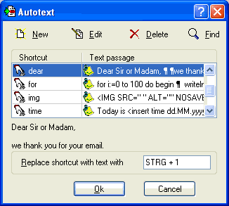 RapidKey Autotext Screenshot