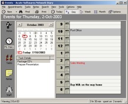 Acute Softwares Diary Screenshot