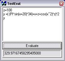 AxEval Expression Evaluator ActiveX Control Screenshot