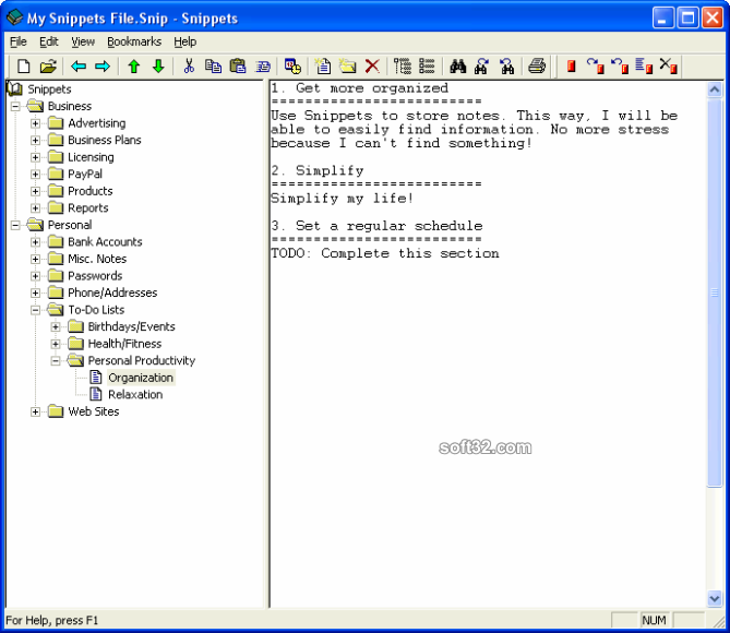Snippets Text Database Screenshot 2