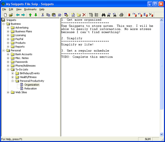 Snippets Text Database Screenshot 1