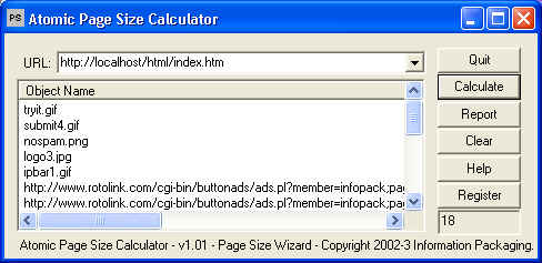 Atomic WebPage Size Calculator Screenshot 1