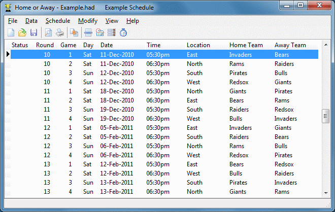 Home or Away League Scheduler Screenshot 1
