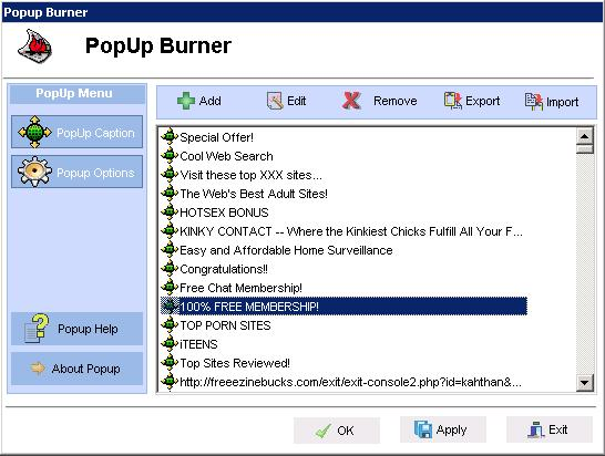 PopUp Burner Screenshot