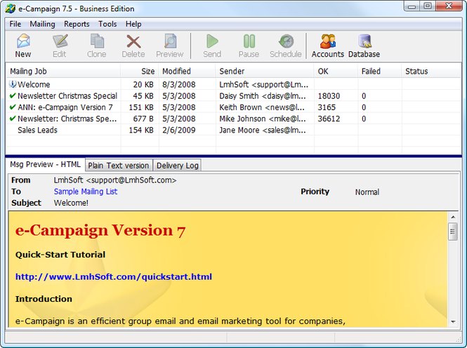 e-Campaign Screenshot 1