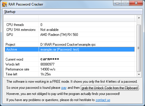 RAR Password Cracker Screenshot