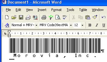 Morovia Code39 (Full ASCII) Barcode Fontware Screenshot 2
