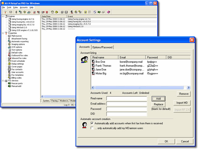 RelayFax Network Fax Manager Screenshot