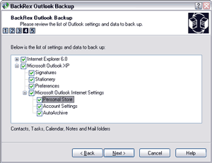 BackRex Outlook Backup Screenshot