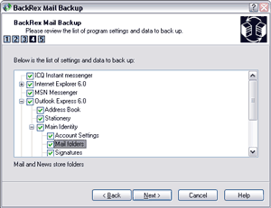 BackRex Mail Backup Screenshot