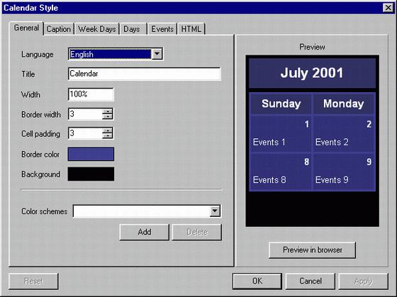AutoSiteCalendar Screenshot