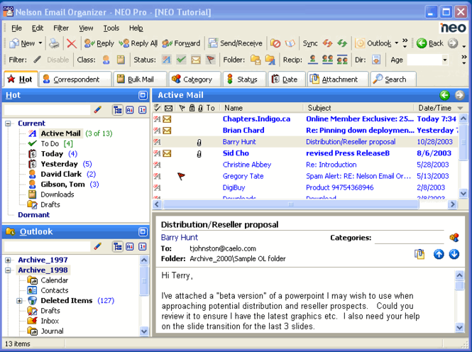 Nelson Email Organizer - NEO Screenshot
