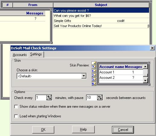 DzSoft Mail Check Screenshot