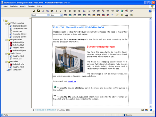 Eschelbacher Enterprises WebEditor Screenshot