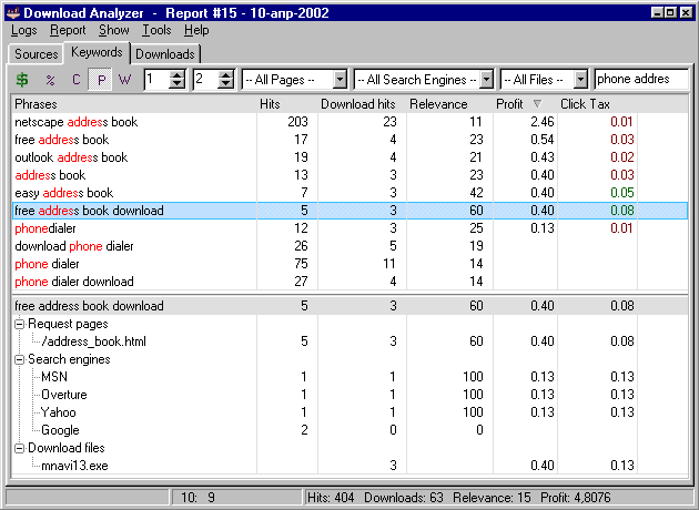 Download Analyzer Screenshot