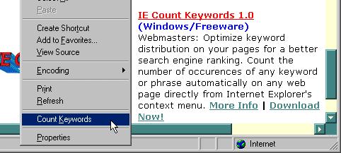IE Count Keywords Screenshot